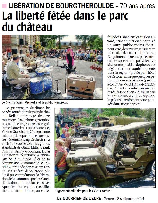Article de presse Courrier de l'eure Liberation de Bourgtheroulde