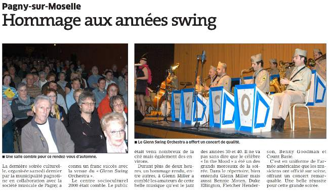 Evenement jazz a Pagny-sur-Moselle, concert hommage aux annees swing