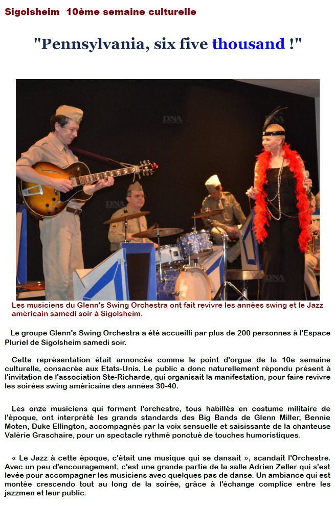 Pennsylvania six five thousand Article de presse Dernieres nouvelles alsace